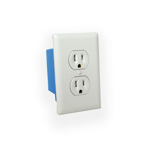 4k Receptacle with Wall Plate in optional beige or white color